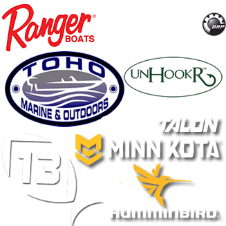 Sponsors are Ranger Boats, Evinrude Outboards, Toho Marine and Outdoors, 13 Fishing, Minn Kota, and Humminbird